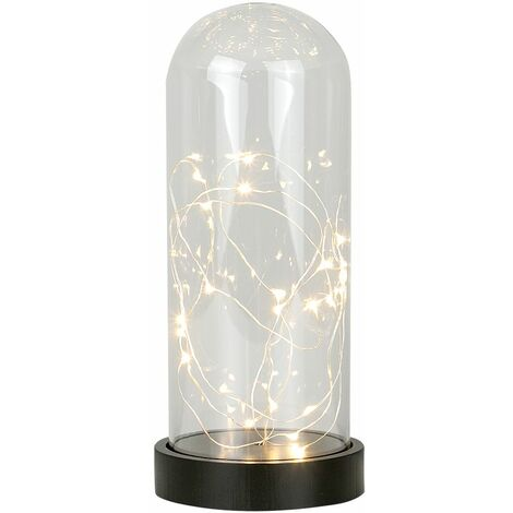 Battery Operated Glass Bedside Table Lamp + LED Warm White Fairy String Lights - Black
