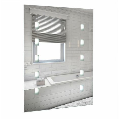 Battery Operated Illuminated LED Bathroom Mirror Wall Light IP44 - Silver