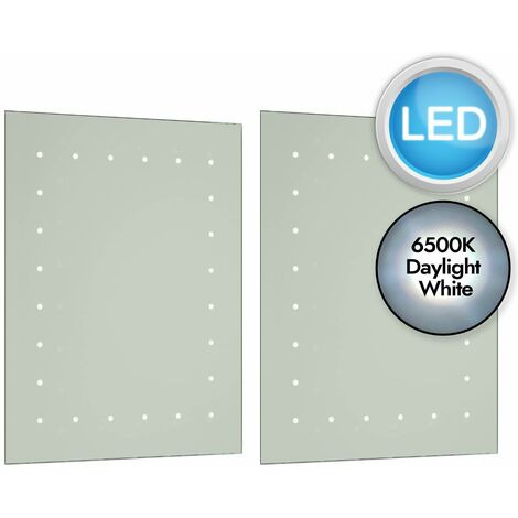 Battery Operated LED Illuminated 600mm Bathroom Mirror IP44 No Wiring Required