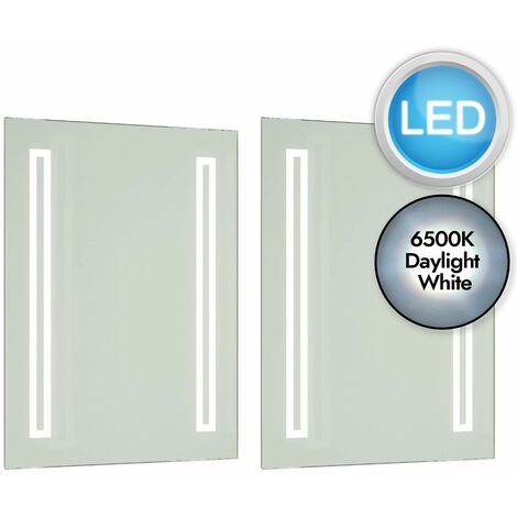 Battery Operated LED Illuminated 60cm Bathroom Mirror IP44 No Wiring Required