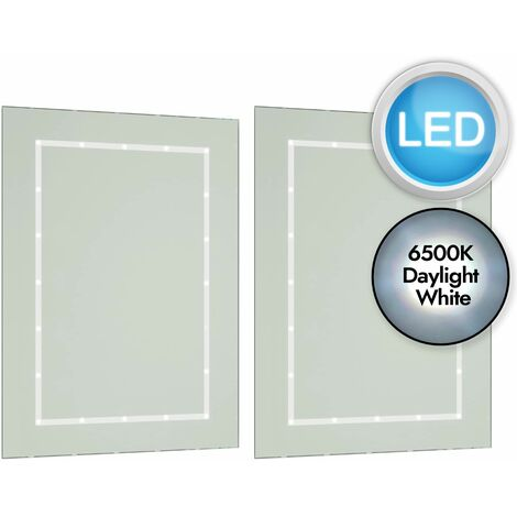 Battery Operated LED Illuminated 60cm x 45cm Bathroom Mirror IP44 Rated