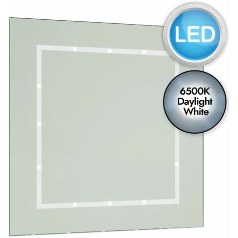 Battery Operated LED Illuminated Bathroom 400mm Rectangular Mirror