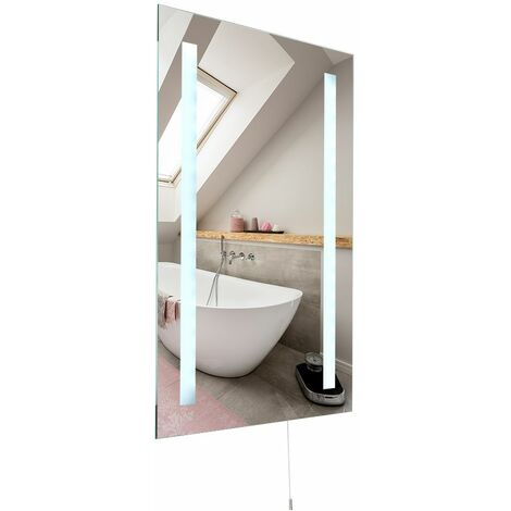 Battery Operated LED Illuminating Bathroom Mirror - Ip44 Rated - Silver