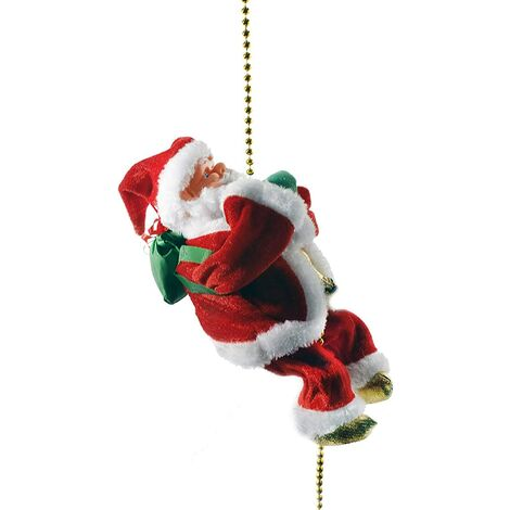 """main image of """"Battery Operated Lovely Climbing Santa Claus Christmas Ornament Present 9"""" Decoration Enjoyable Gift Toy 