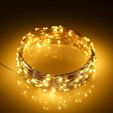 Battery operated string lights mini 3 * AA battery powered copper wire LED fireflies, suitable for bedroom, garden, Christmas, wedding, indoor, outdoor, party, lights 2M20 Regular battery box Warm white silver wire