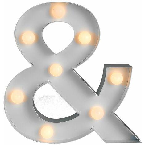 Battery Operated White Ampersand ' & ' LED Decorative Light Sign - White
