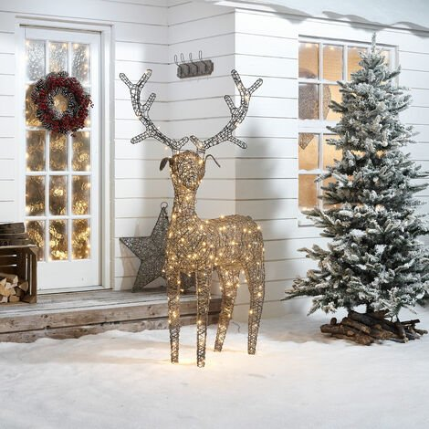 The Winter Workshop - 180cm Battery or Mains Operated Outdoor PVC Rattan Reindeer Christmas Figure -