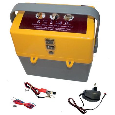 Battery powered 9V/12V and 230V electric current for fences up to 6 km for cattle, sheep and goats horses