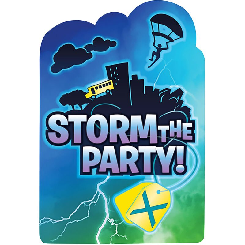 Image of Storm The Party Postcard Invitations (Pack Of 8) (One Size) (Multicoloured) - Battle Royal