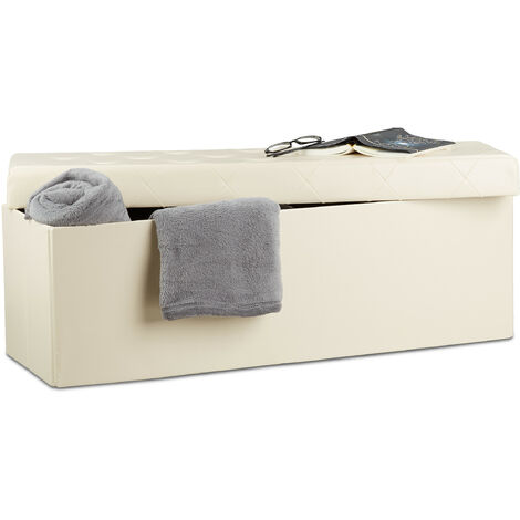 Baúl Almacenamiento Plegable con 2 Compartimentos, Piel Sintética, Crema, 38 x 114 x 38 cm