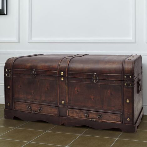 Baúl cofre grande de madera marrón - Marrón