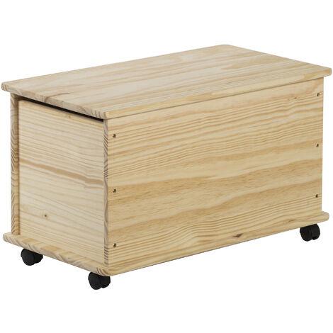 Baúl de almacenaje de madera maciza de pino con 4 ruedas 43,5x73x39 cm
