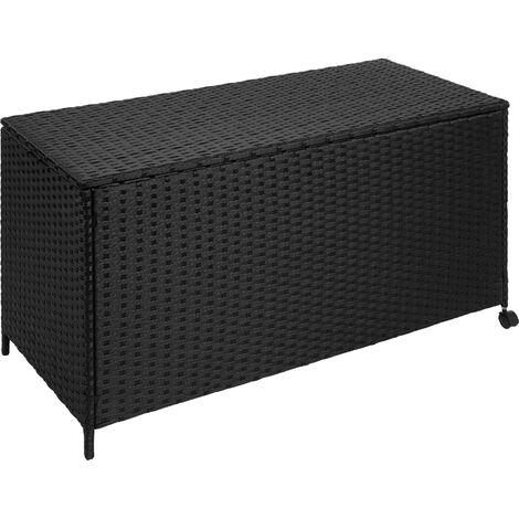Baúl de almacenaje de poliratán con ruedas y estructura de aluminio - baúl con forro interior extraíble, arcón atemporal de ratán sintético para cojines, baúl decorativo para guardar mantas - negro
