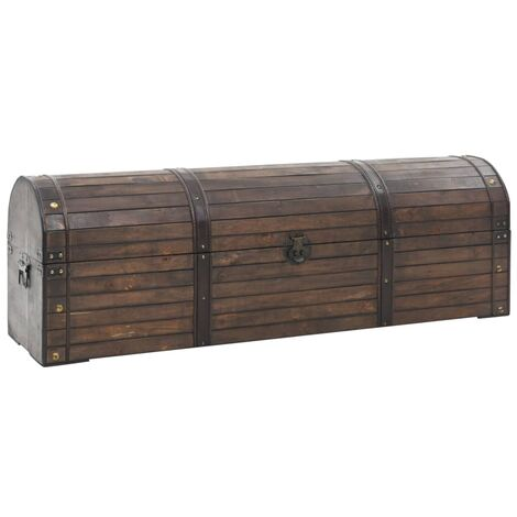 Baúl de almacenaje madera maciza estilo vintage 120x30x40 cm