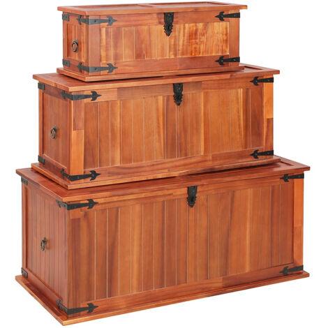Baul de almacenamiento 3 piezas de madera maciza de acacia