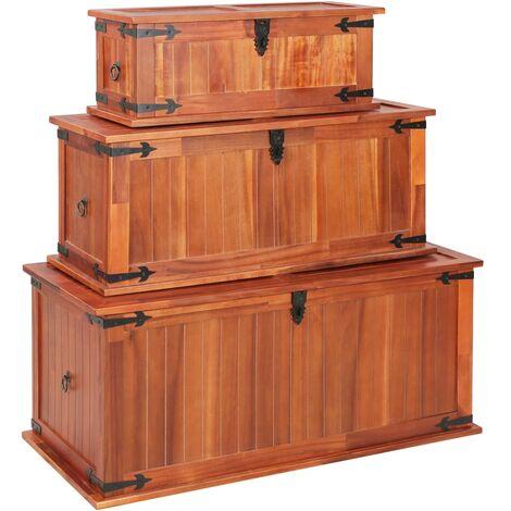 Baúl de almacenamiento 3 piezas de madera maciza de acacia - Marrón