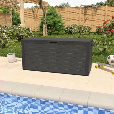 Baúl de almacenamiento aspecto de Madera con tapa plegable 120x45x60cm arcón de jardín caja para cojines terraza balcón