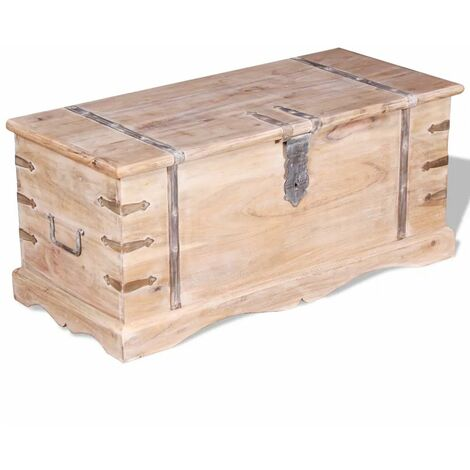 Baul de almacenamiento de madera de acacia