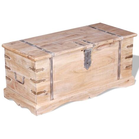 Baúl de almacenamiento de madera de acacia - Marrón