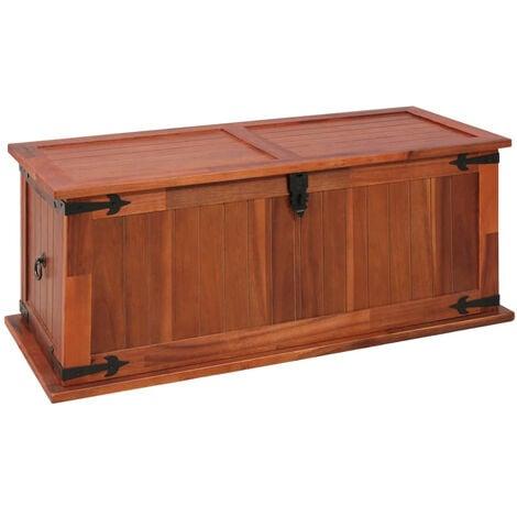Baul de almacenamiento de madera maciza de acacia 90x45x40 cm