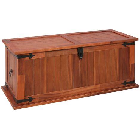 Baúl de almacenamiento de madera maciza de acacia 90x45x40 cm - Marrón