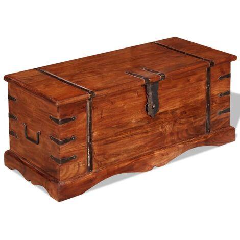 Baúl de almacenamiento de madera maciza - Marrón
