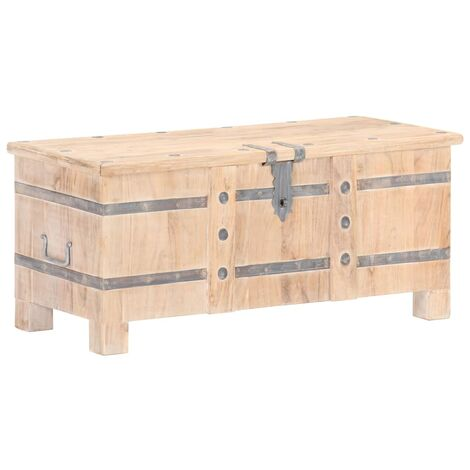 Baúl de madera maciza de acacia 90x40x40 cm