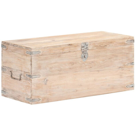 Baul de madera maciza de acacia 90x40x40 cm