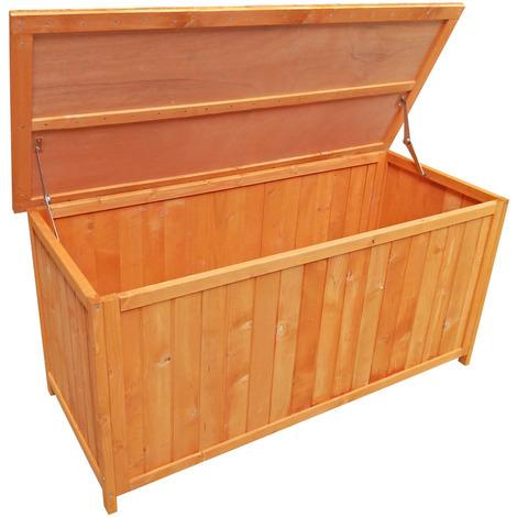 Baúl madera pino jardín almacenaje exterior caja terraza balcón mobiliario orden