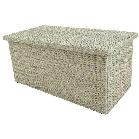 Baúl para exterior | Tamaño: 158x79x72 cm | Aluminio y rattán sintético color blanco natural | Almacenamiento para jardín | Portes gratis - Blanco envejecido-plano