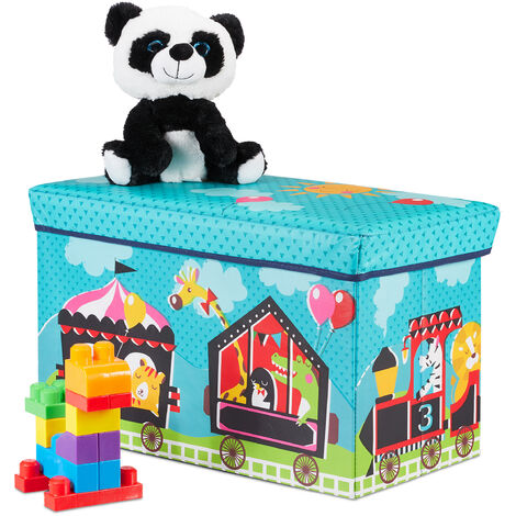 Baúl para juguetes, Taburete infantil, Plegable, Para niños y niñas, Circo, 50L, Turquesa