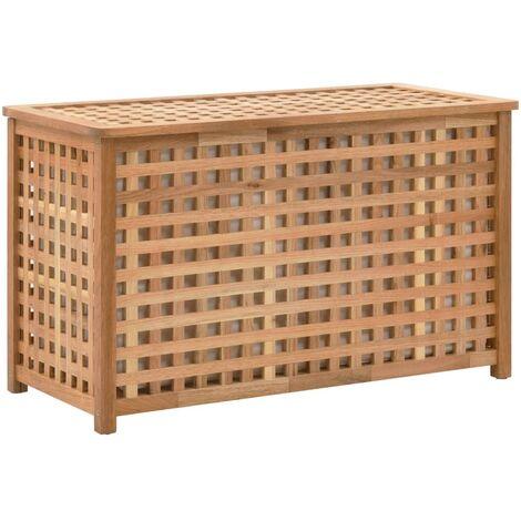 Baúl para la ropa sucia madera maciza nogal 77,5x37,5x46,5 cm - Marrón
