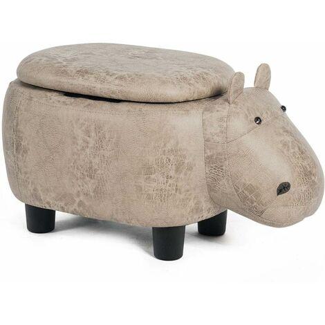 Baúl Puff Taburete para Almacenaje Taburete de Animal Banco de Almacenamiento Otomano Tapizado Escabel (Forma de hipopótamo)