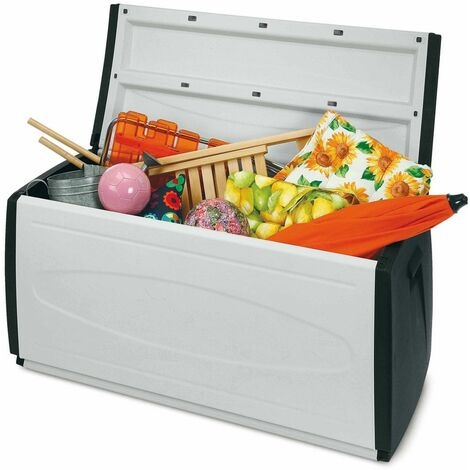 Contenitori Per Esterni In Plastica.Baule Box 120 Contenitore In Resina Cassapanca Da Giardino Esterno