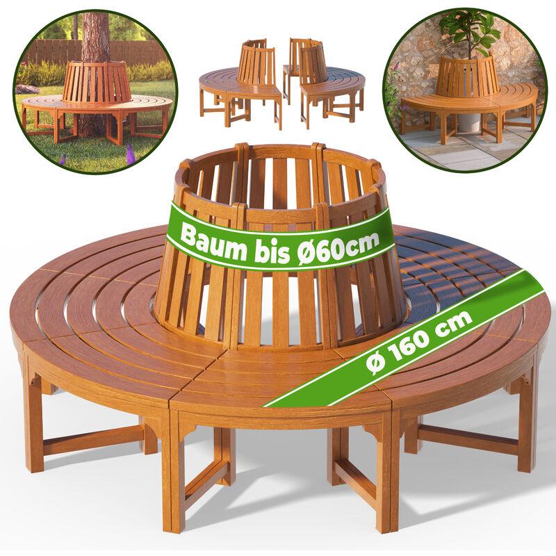 Baumbank FSC®-zertifiziertes Eukalyptusholz Vorgeölt Ø 160cm Rundbank Holzbank Gartenbank - Deuba