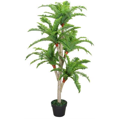 Baumfarn Kunstpflanze Künstliche Pflanze mit Echtholz mit Topf 120cm Decovego