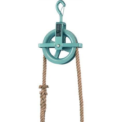 Baurolle Seilrad 190 mm Ø mit Hakensicherung und Kreuzbügel für Seil bis 28 mm Ø