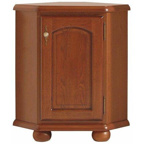 BAVARIAL - Commode d'angle salon/chambre à coucher - Buffet style classique - 87x54,5x54,5 cm - Faces en bois - Marron