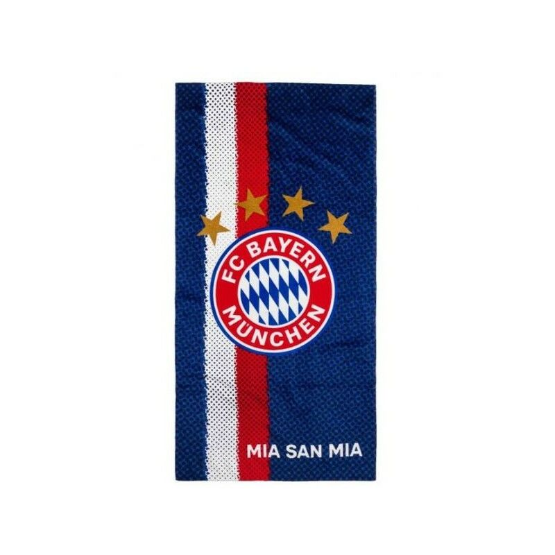 Image of Mia San Mia Crest Beach Towel (One Size) (Navy/Red) - Bayern Munich Fc
