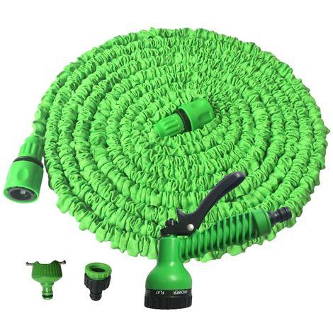 Baymate Tuyaux d'arrosage extensible rétractable avec Pistolet 7 fonctions pour Jardin, Irrigation, Nettoyage - 50FT / 15m - Vert - Vert