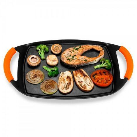 BAYSER Plancha Cocina de Aluminio Fundido para Vitrocerámica e Inducción con Mangos de Silicona Naranja