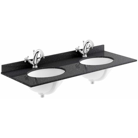 Bayswater Black Double Bowl Countertop 1200mm 2 Tap Hole Undermount Basin
