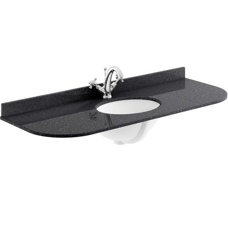 Bayswater Black Marble Top Curved Furniture Basin 1200mm Wide 1 Tap Hole