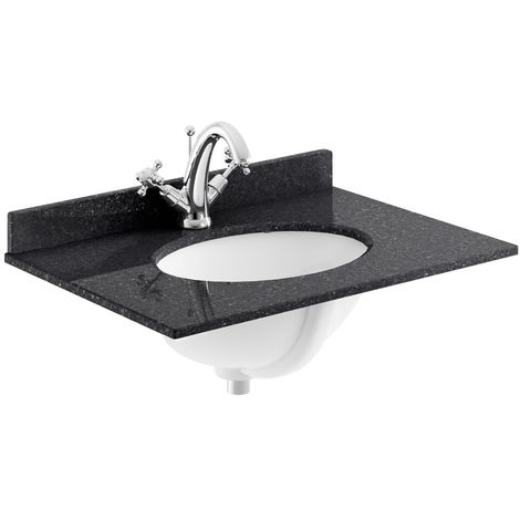 Bayswater Black Marble Top Furniture Basin 600mm Wide 1 Tap Hole