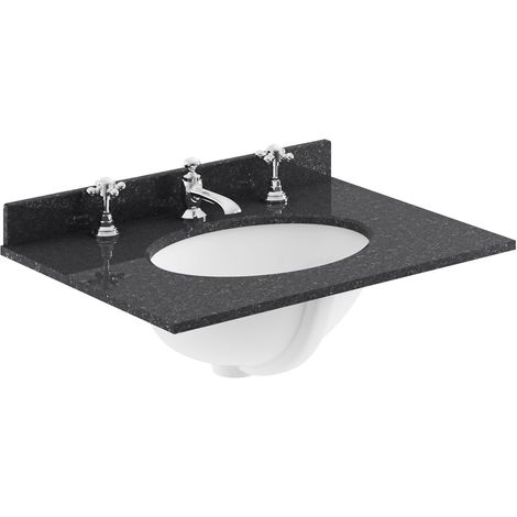Bayswater Black Marble Top Furniture Basin 600mm Wide 3 Tap Hole