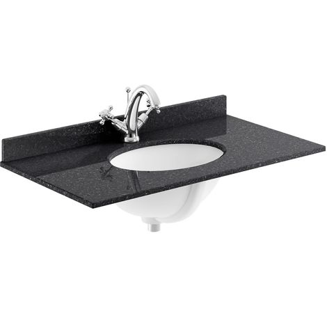 Bayswater Black Marble Top Furniture Basin 800mm Wide 1 Tap Hole