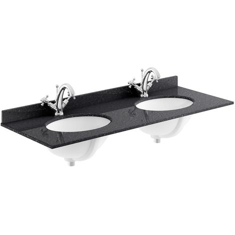 Bayswater Black Marble Top Furniture Double Basin 1200mm Wide 1 Tap Hole
