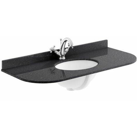 Bayswater Black Single Bowl Countertop 1000mm 1 Tap Hole Undermount Curved