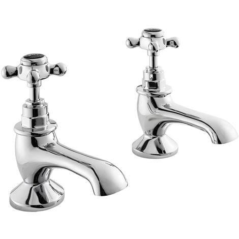 Bayswater Crosshead Hex Bath Taps Pair Black/Chrome