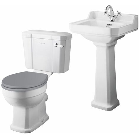 Bayswater Fitzroy 500mm Cloakroom Suite Toilet WC Basin Sink Full Pedestal White